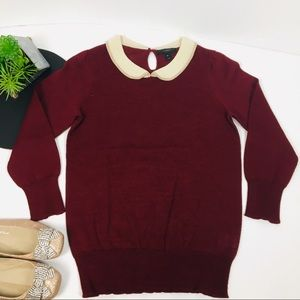 J. Crew Sweaters - J. Crew Maroon Peter Pan Collar pullover XS